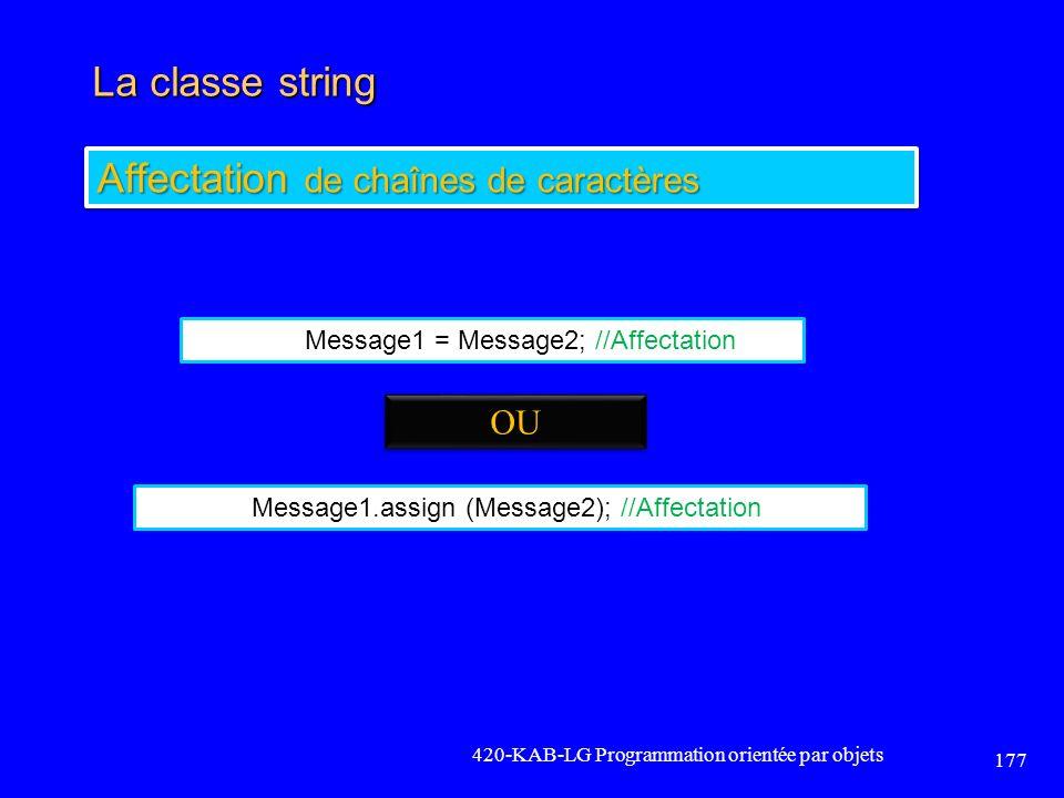 La classe string 420-KAB-LG Programmation orientée par objets 177 Affectation de chaînes de caractères Message1 = Message2; //Affectation Message1.ass