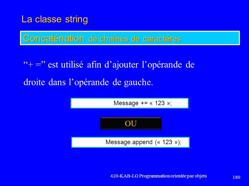 La classe string 420-KAB-LG Programmation orientée par objets 180 Concaténation de chaînes de caractères + = est utilisé afin dajouter lopérande de dr