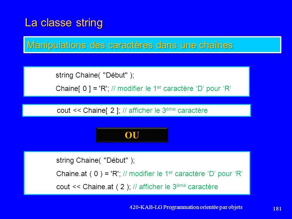 La classe string 420-KAB-LG Programmation orientée par objets 181 Manipulations des caractères dans une chaînes string Chaine(