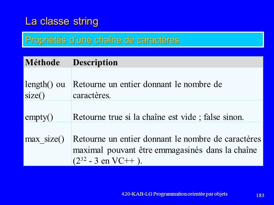 La classe string 420-KAB-LG Programmation orientée par objets 183 Propriétés dune chaîne de caractères MéthodeDescription length() ou size() Retourne