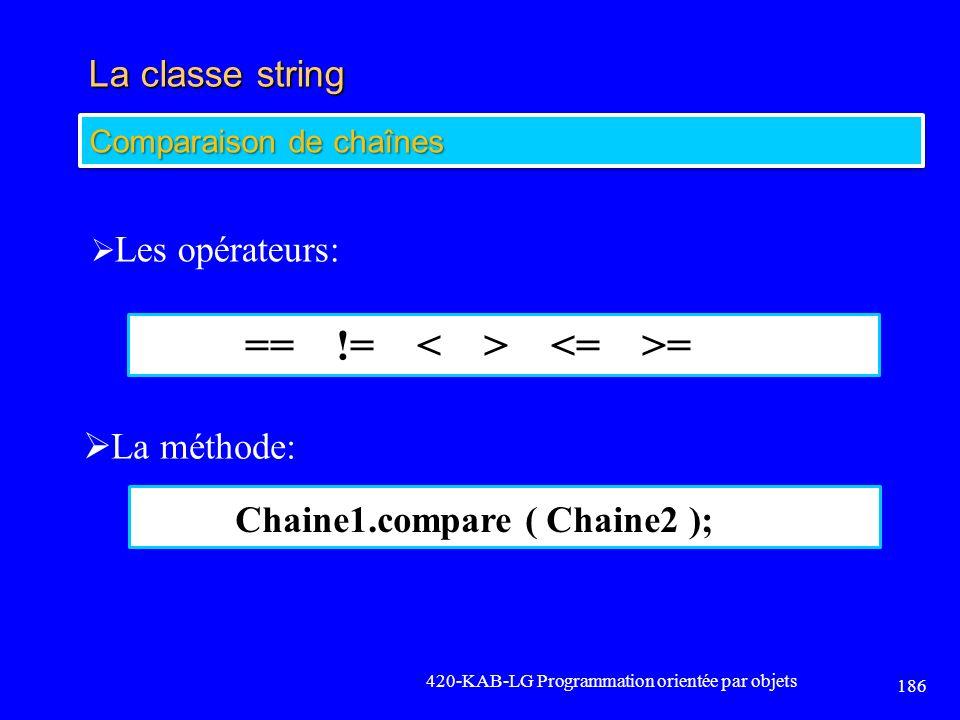 La classe string 420-KAB-LG Programmation orientée par objets 186 Comparaison de chaînes Les opérateurs: La méthode: == != = Chaine1.compare ( Chaine2