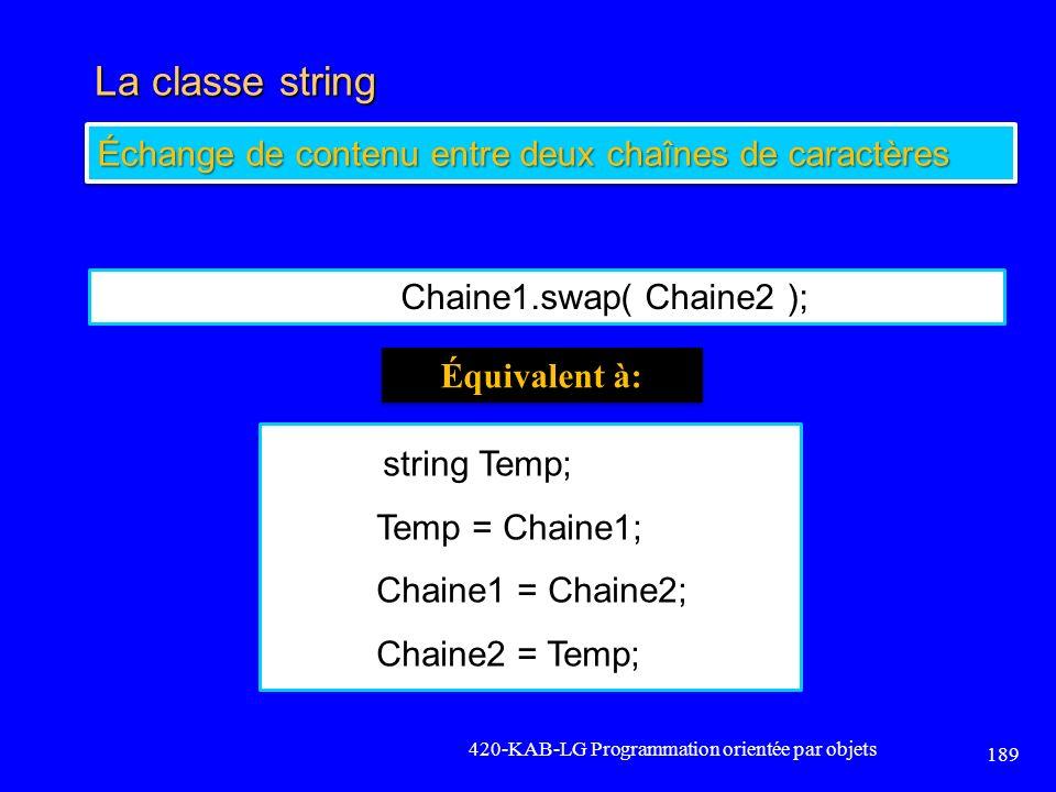 La classe string 420-KAB-LG Programmation orientée par objets 189 Échange de contenu entre deux chaînes de caractères Chaine1.swap( Chaine2 ); string