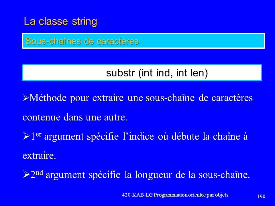 La classe string 420-KAB-LG Programmation orientée par objets 190 Sous-chaînes de caractères substr (int ind, int len) Méthode pour extraire une sous-