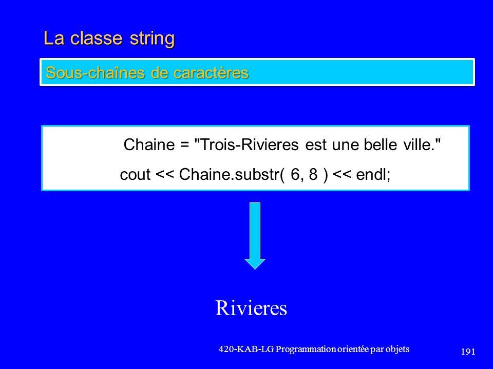 La classe string 420-KAB-LG Programmation orientée par objets 191 Sous-chaînes de caractères Chaine =