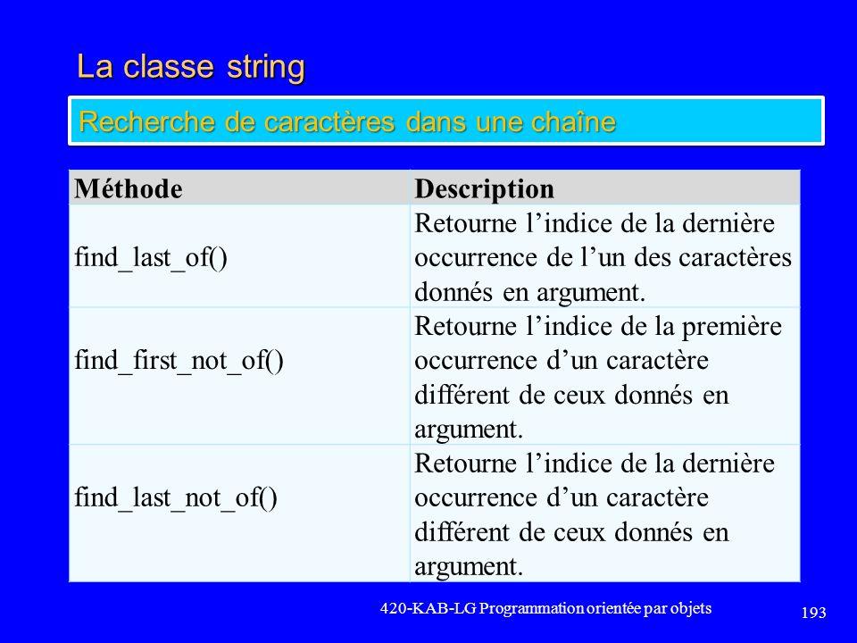 La classe string 420-KAB-LG Programmation orientée par objets 193 Recherche de caractères dans une chaîne MéthodeDescription find_last_of() Retourne l