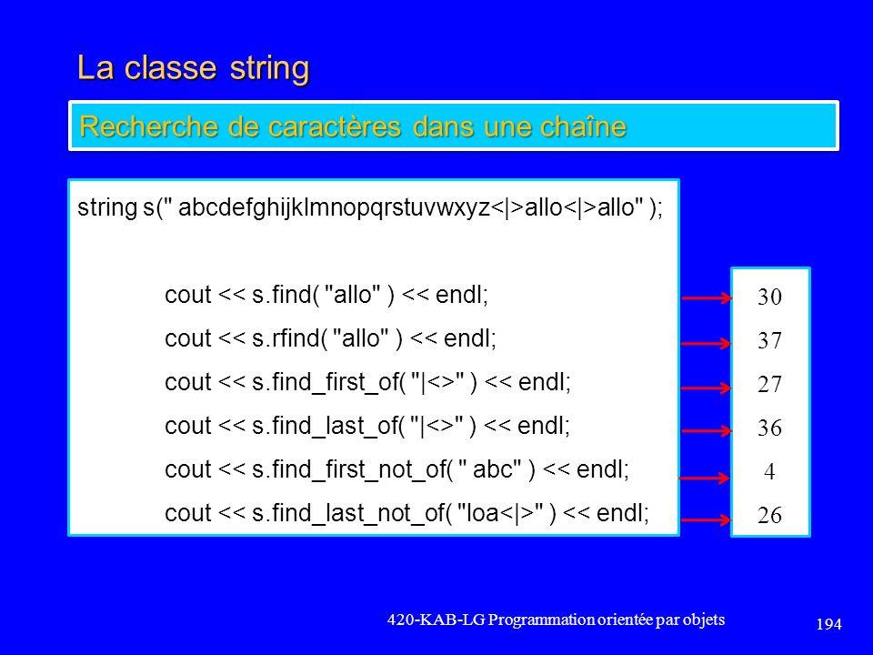 La classe string 420-KAB-LG Programmation orientée par objets 194 Recherche de caractères dans une chaîne string s(
