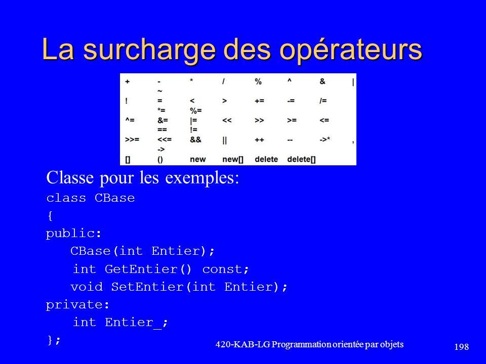La surcharge des opérateurs Classe pour les exemples: class CBase { public: CBase(int Entier); int GetEntier() const; void SetEntier(int Entier); priv