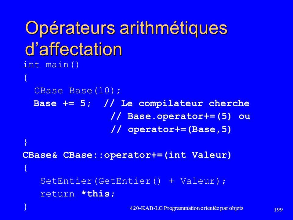 Opérateurs arithmétiques daffectation int main() { CBase Base(10); Base += 5; // Le compilateur cherche // Base.operator+=(5) ou // operator+=(Base,5)