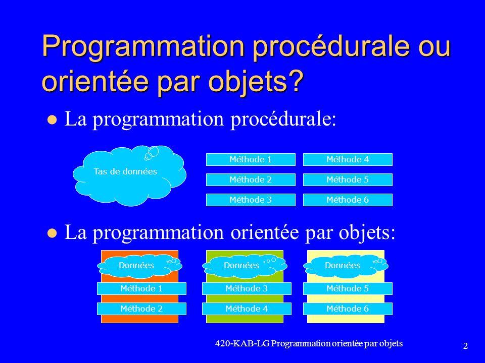 Le tableau dynamique Un tableau dynamique peut avoir une taille différente à chaque exécution Lespace mémoire est réservé à lexécution et non à la compilation comme un tableau automatique Le tableau est alloué sur le tas et non sur la pile Lutilisation dun tableau dynamique se fait en 5 étapes: 1.Déclaration dun pointeur pour contenir ladresse mémoire (le point de départ) du tableau 2.Réservation de lespace mémoire avec lopérateur new [] 3.Conserver la taille du tableau dans une variable 4.Utiliser le tableau comme sil était un tableau automatique 5.Lorsque le tableau nest plus requis, libérer l espace en mémoire avec lopérateur delete [ ] 420-KAB-LG Programmation orientée par objets 103