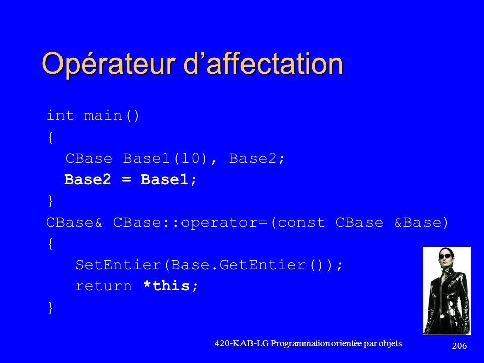 Opérateur daffectation int main() { CBase Base1(10), Base2; Base2 = Base1; } CBase& CBase::operator=(const CBase &Base) { SetEntier(Base.GetEntier());