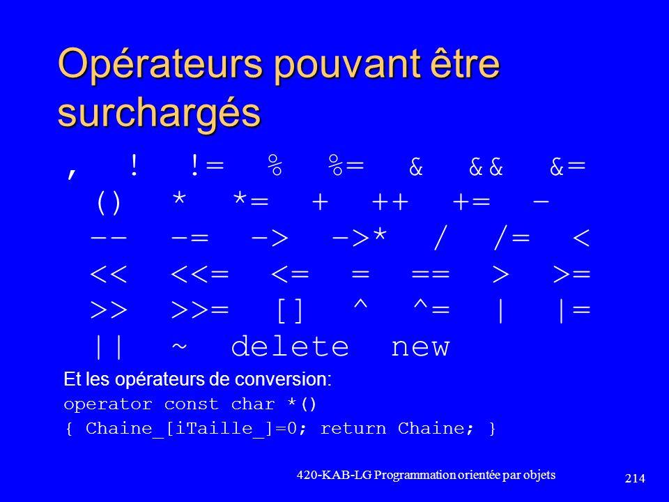 Opérateurs pouvant être surchargés, ! != % %= & && &= () * *= + ++ += – –– –= –> –>* / /= >= >> >>= [] ^ ^= | |= || ~ delete new Et les opérateurs de