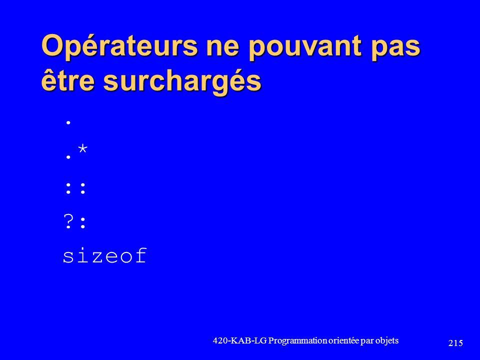 Opérateurs ne pouvant pas être surchargés..* :: ?: sizeof 420-KAB-LG Programmation orientée par objets 215