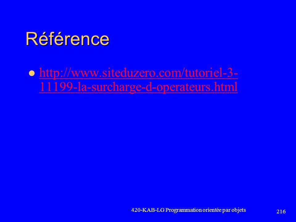 Référence http://www.siteduzero.com/tutoriel-3- 11199-la-surcharge-d-operateurs.html http://www.siteduzero.com/tutoriel-3- 11199-la-surcharge-d-operat