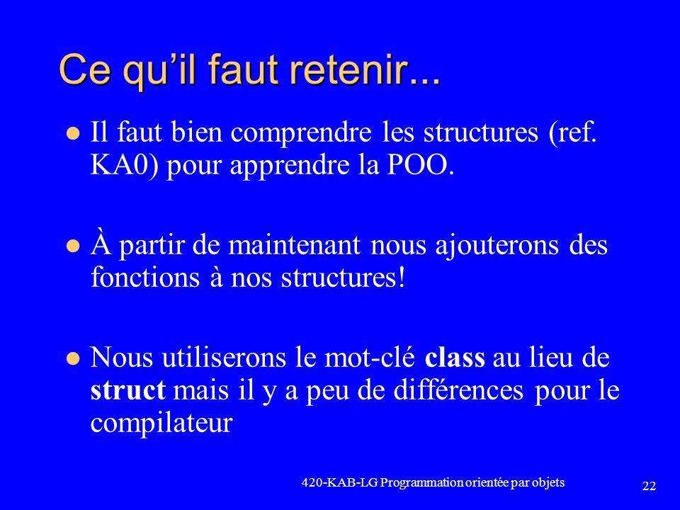 Ce quil faut retenir... Il faut bien comprendre les structures (ref. KA0) pour apprendre la POO. À partir de maintenant nous ajouterons des fonctions