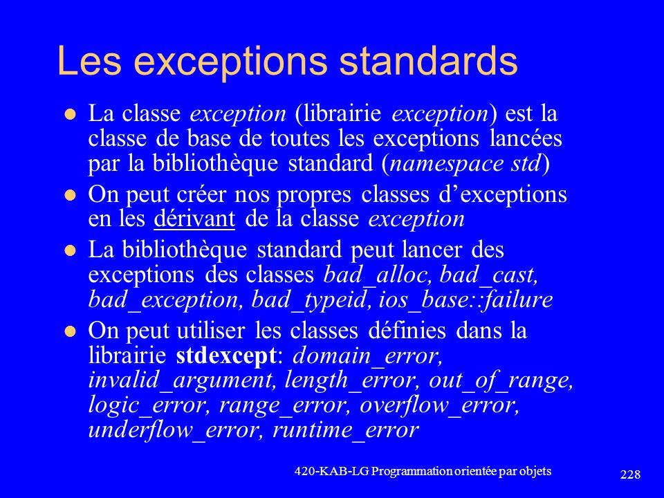 Les exceptions standards La classe exception (librairie exception) est la classe de base de toutes les exceptions lancées par la bibliothèque standard