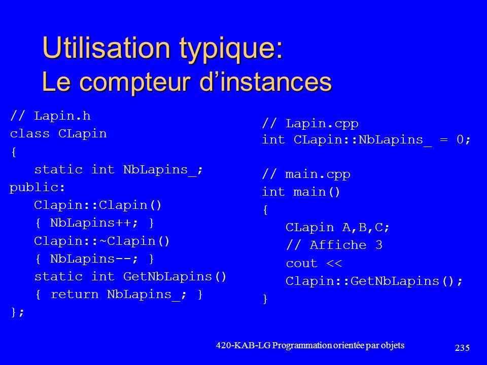 Utilisation typique: Le compteur dinstances // Lapin.h class CLapin { static int NbLapins_; public: Clapin::Clapin() { NbLapins++; } Clapin::~Clapin()