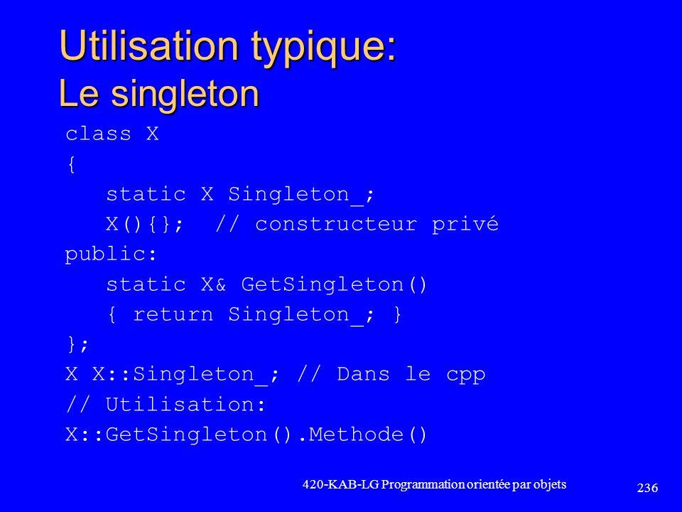 Utilisation typique: Le singleton class X { static X Singleton_; X(){}; // constructeur privé public: static X& GetSingleton() { return Singleton_; }