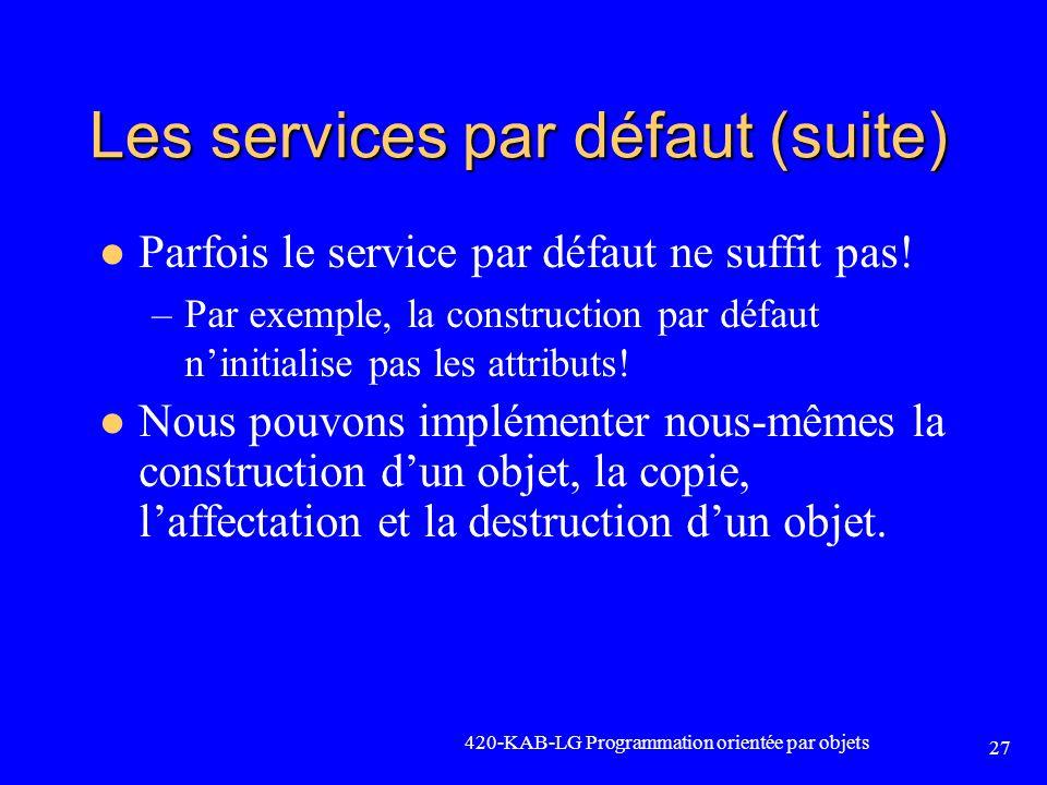 Les services par défaut (suite) Parfois le service par défaut ne suffit pas! –Par exemple, la construction par défaut ninitialise pas les attributs! N