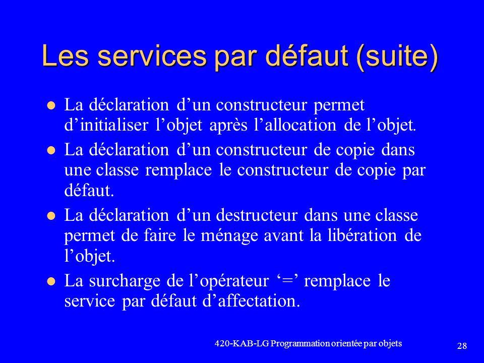 Les services par défaut (suite) La déclaration dun constructeur permet dinitialiser lobjet après lallocation de lobjet. La déclaration dun constructeu