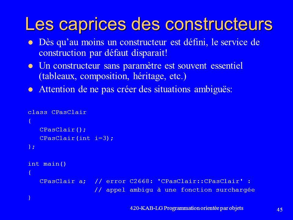 Les caprices des constructeurs Dès quau moins un constructeur est défini, le service de construction par défaut disparait! Un constructeur sans paramè