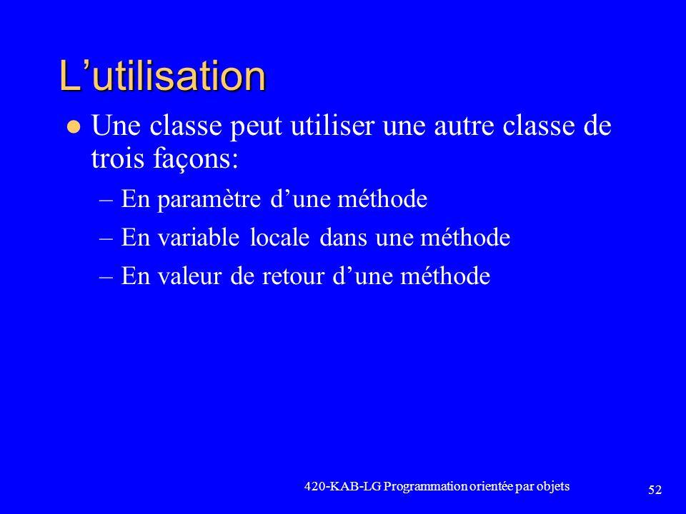 Lutilisation Une classe peut utiliser une autre classe de trois façons: –En paramètre dune méthode –En variable locale dans une méthode –En valeur de