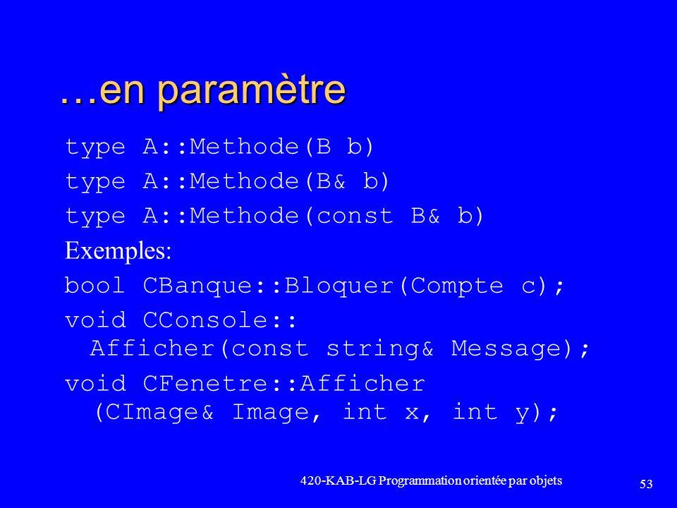 …en paramètre type A::Methode(B b) type A::Methode(B& b) type A::Methode(const B& b) Exemples: bool CBanque::Bloquer(Compte c); void CConsole:: Affich
