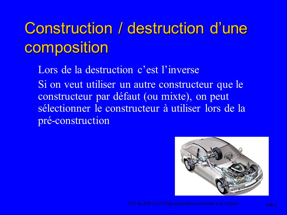 Construction / destruction dune composition Lors de la destruction cest linverse Si on veut utiliser un autre constructeur que le constructeur par déf