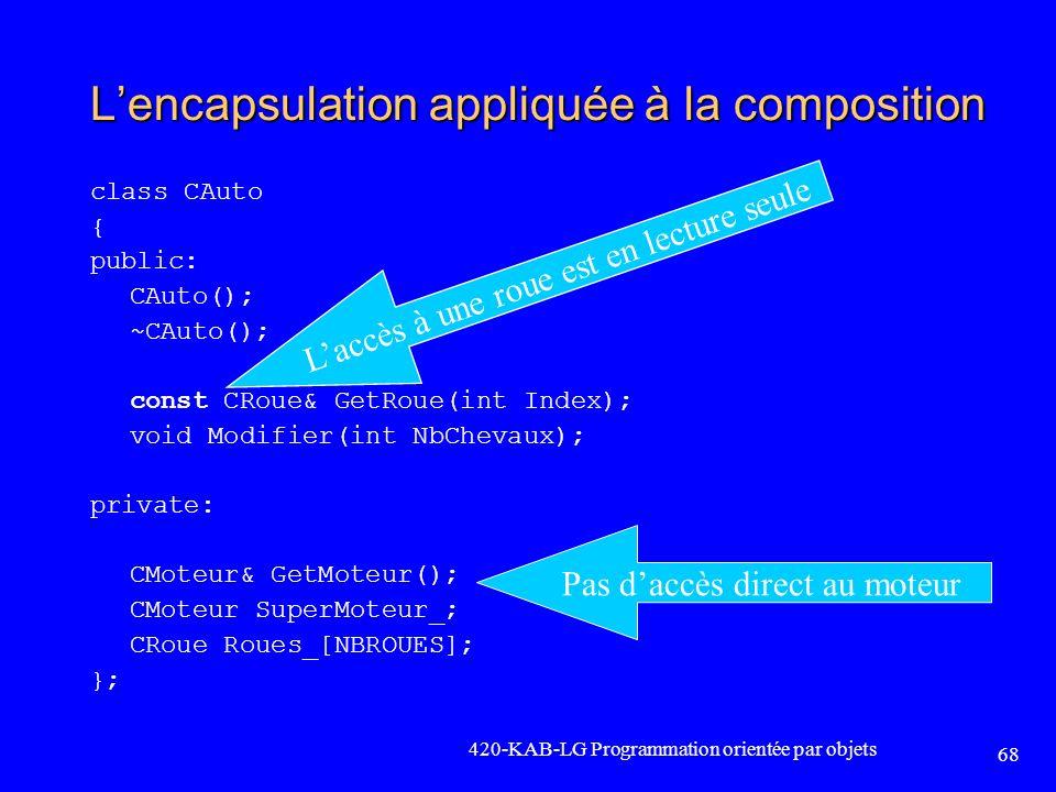 Lencapsulation appliquée à la composition class CAuto { public: CAuto(); ~CAuto(); const CRoue& GetRoue(int Index); void Modifier(int NbChevaux); priv