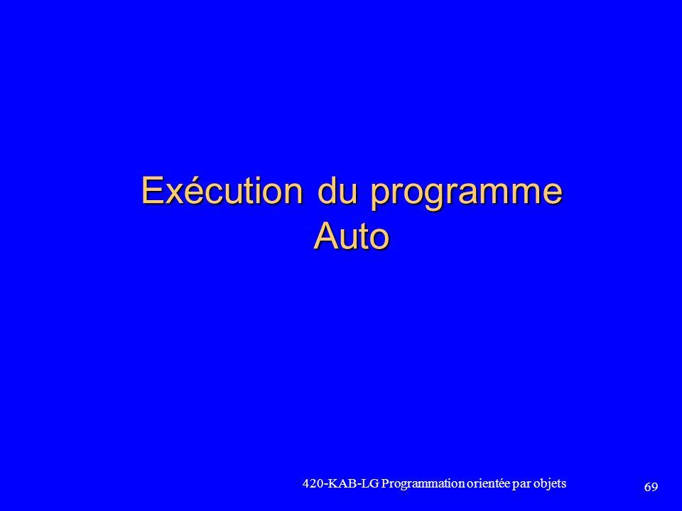 420-KAB-LG Programmation orientée par objets 69 Exécution du programme Auto