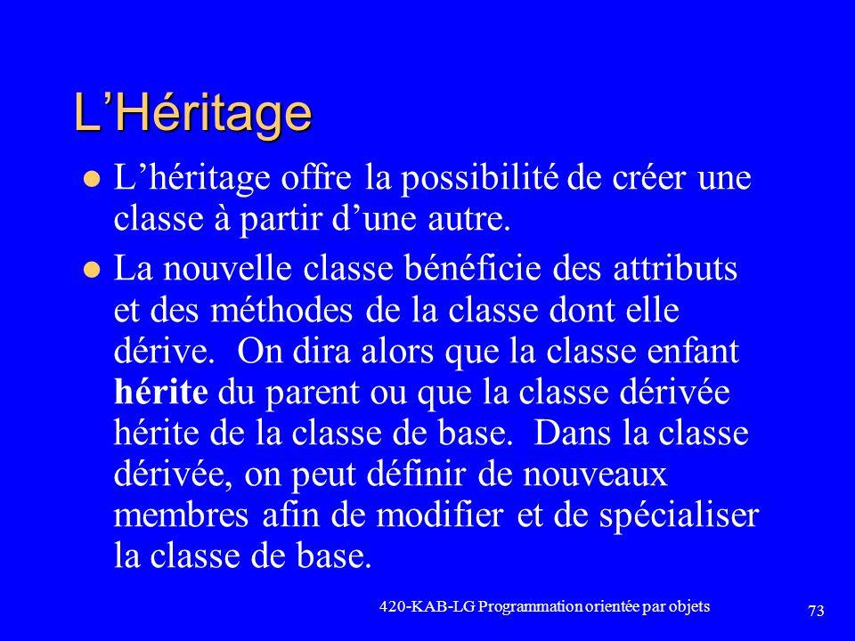 LHéritage Lhéritage offre la possibilité de créer une classe à partir dune autre. La nouvelle classe bénéficie des attributs et des méthodes de la cla