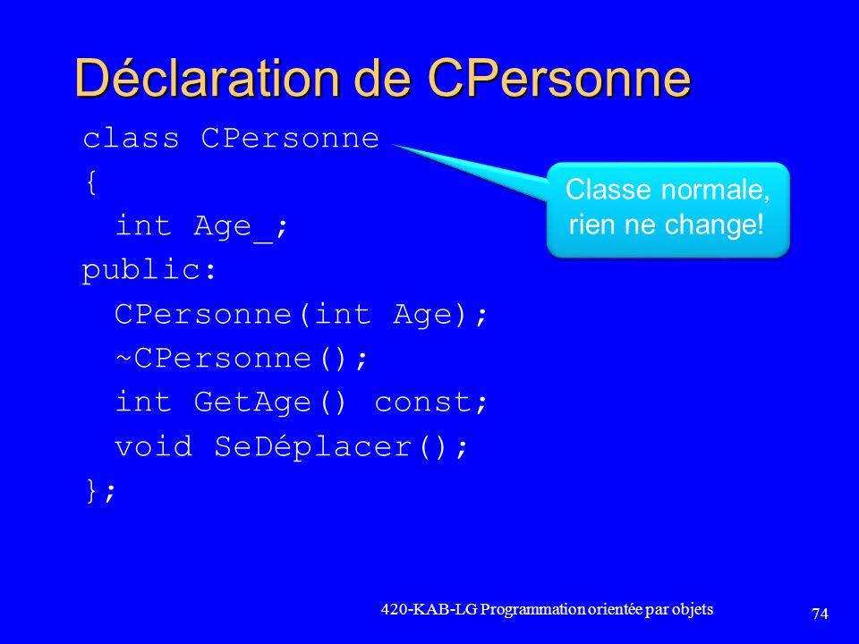 Déclaration de CPersonne class CPersonne { int Age_; public: CPersonne(int Age); ~CPersonne(); int GetAge() const; void SeDéplacer(); }; 420-KAB-LG Pr