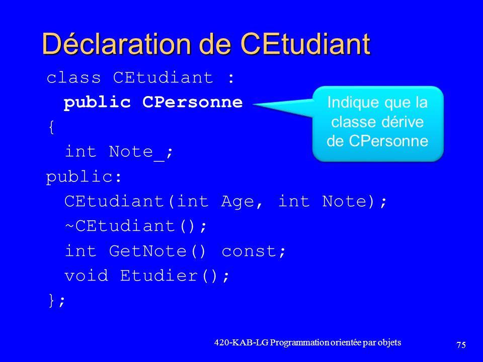 Déclaration de CEtudiant class CEtudiant : public CPersonne { int Note_; public: CEtudiant(int Age, int Note); ~CEtudiant(); int GetNote() const; void