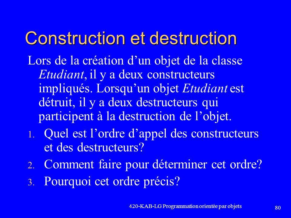 Construction et destruction Lors de la création dun objet de la classe Etudiant, il y a deux constructeurs impliqués. Lorsquun objet Etudiant est détr