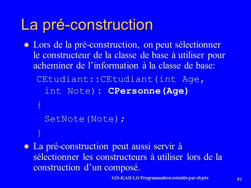 La pré-construction Lors de la pré-construction, on peut sélectionner le constructeur de la classe de base à utiliser pour acheminer de linformation à
