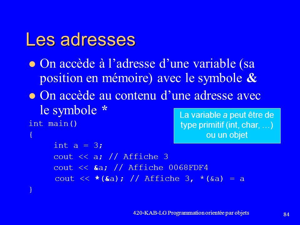 Les adresses 420-KAB-LG Programmation orientée par objets 84 On accède à ladresse dune variable (sa position en mémoire) avec le symbole & On accède a
