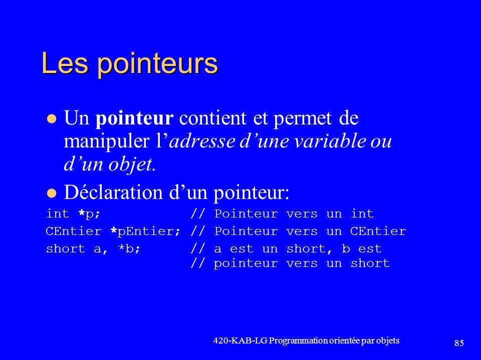 Les pointeurs Un pointeur contient et permet de manipuler ladresse dune variable ou dun objet. Déclaration dun pointeur: int *p; // Pointeur vers un i