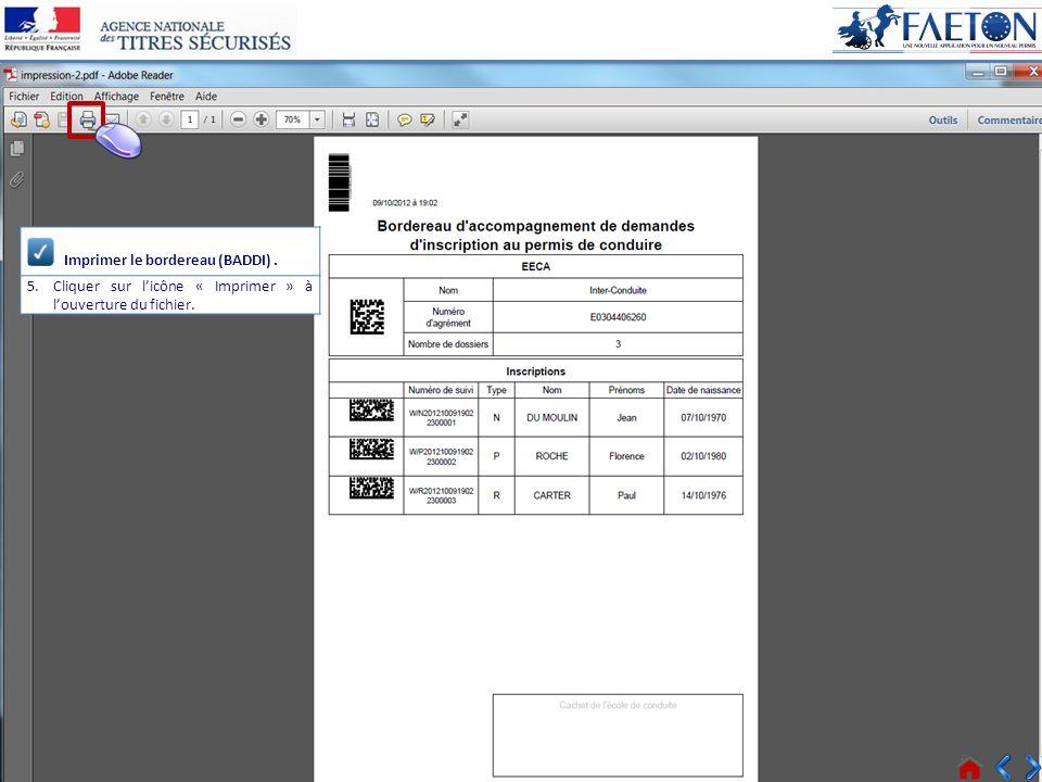 19 > Voir tous les messages Connecté Imprimer le bordereau (BADDI). 5.Cliquer sur licône « Imprimer » à louverture du fichier.