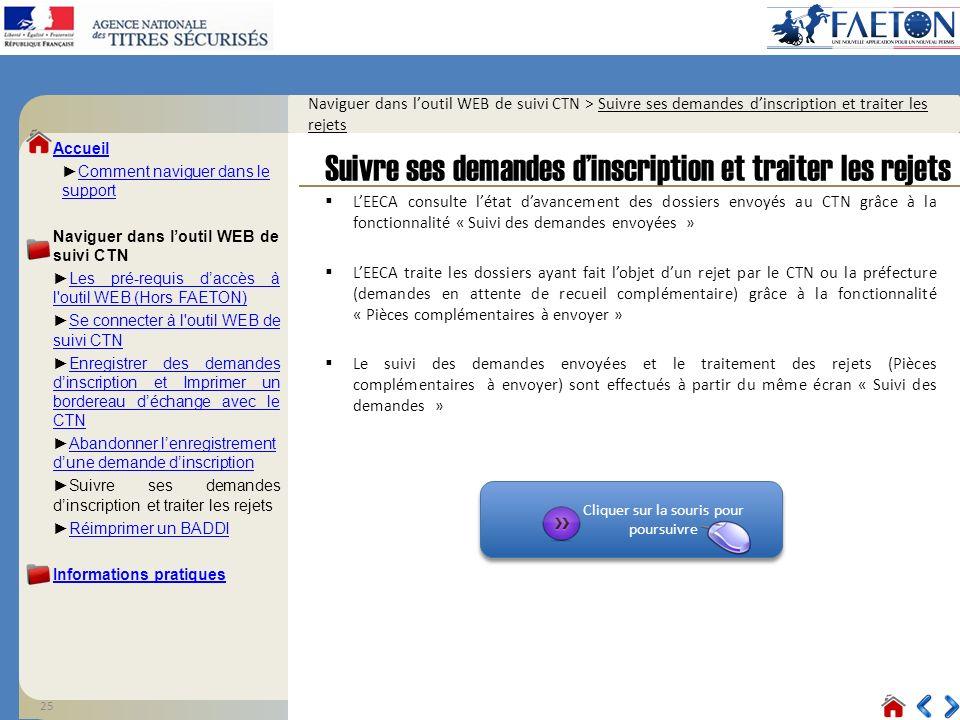 25 Cliquer sur la souris pour poursuivre Cliquer sur la souris pour poursuivre Naviguer dans loutil WEB de suivi CTN > Suivre ses demandes dinscriptio