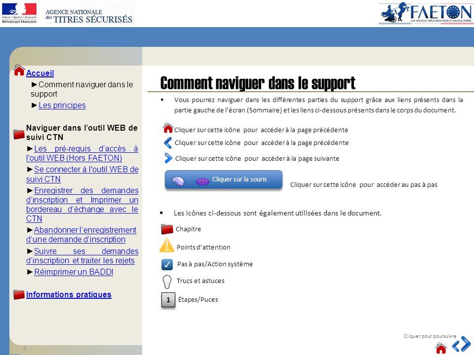 Comment naviguer dans le support Cliquer pour poursuivre Cliquer sur la souris Vous pourrez naviguer dans les différentes parties du support grâce aux