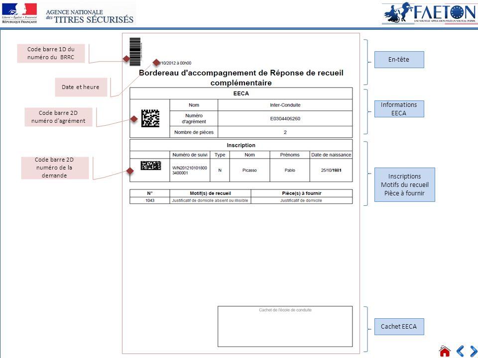 34 > Voir tous les messages Connecté Date et heure En-tête Informations EECA Inscriptions Motifs du recueil Pièce à fournir Cachet EECA Code barre 1D