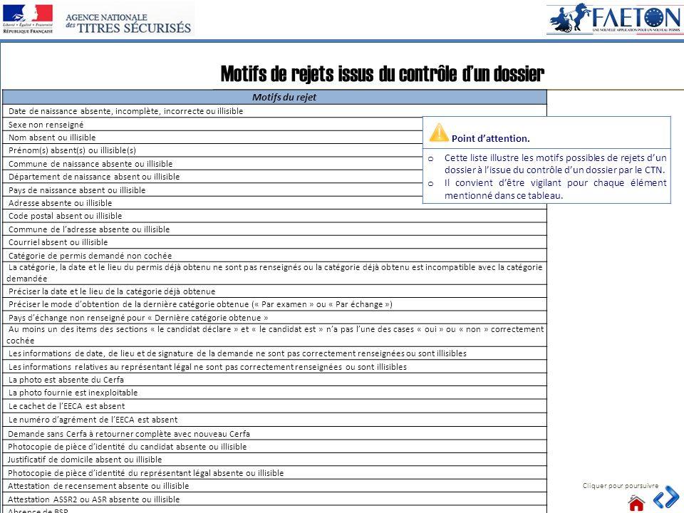 46 Motifs de rejets issus du contrôle dun dossier Cliquer pour poursuivre Motifs du rejet Date de naissance absente, incomplète, incorrecte ou illisib