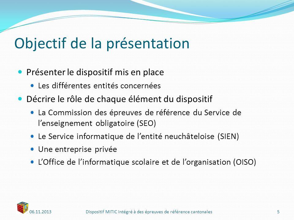06.11.2013Dispositif MITIC intégré à des épreuves de référence cantonales16