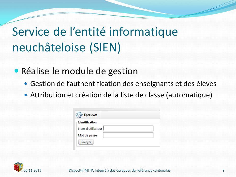 06.11.2013Dispositif MITIC intégré à des épreuves de référence cantonales10