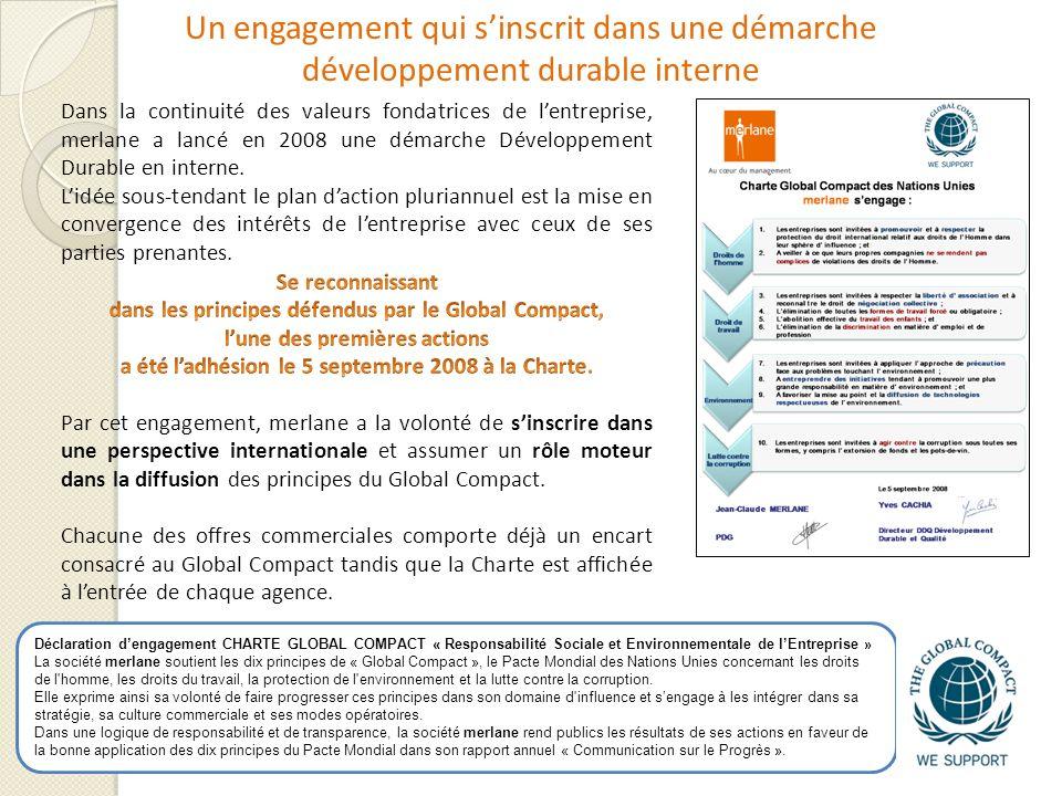 Un engagement qui sinscrit dans une démarche développement durable interne Déclaration dengagement CHARTE GLOBAL COMPACT « Responsabilité Sociale et E