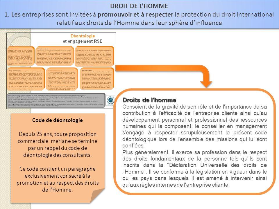 DROIT DE LHOMME 1. Les entreprises sont invitées à promouvoir et à respecter la protection du droit international relatif aux droits de lHomme dans le