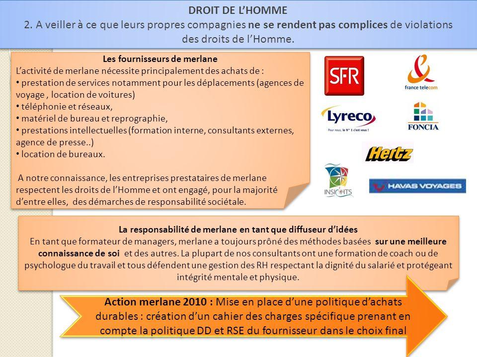 DROIT DE LHOMME 2. A veiller à ce que leurs propres compagnies ne se rendent pas complices de violations des droits de lHomme. DROIT DE LHOMME 2. A ve