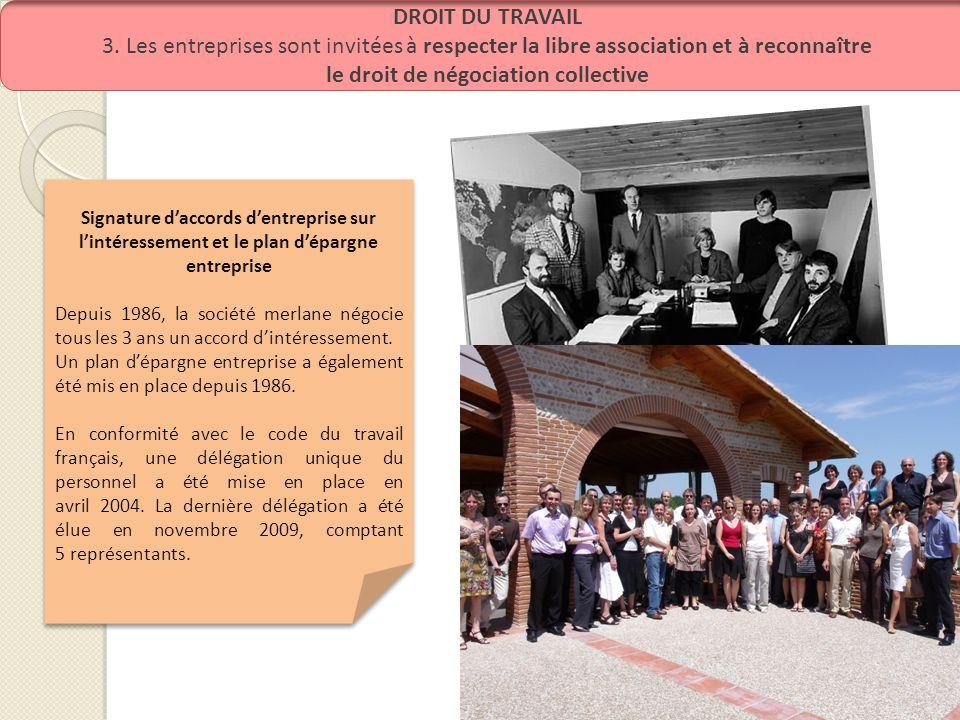 DROIT DU TRAVAIL 3. Les entreprises sont invitées à respecter la libre association et à reconnaître le droit de négociation collective Signature dacco