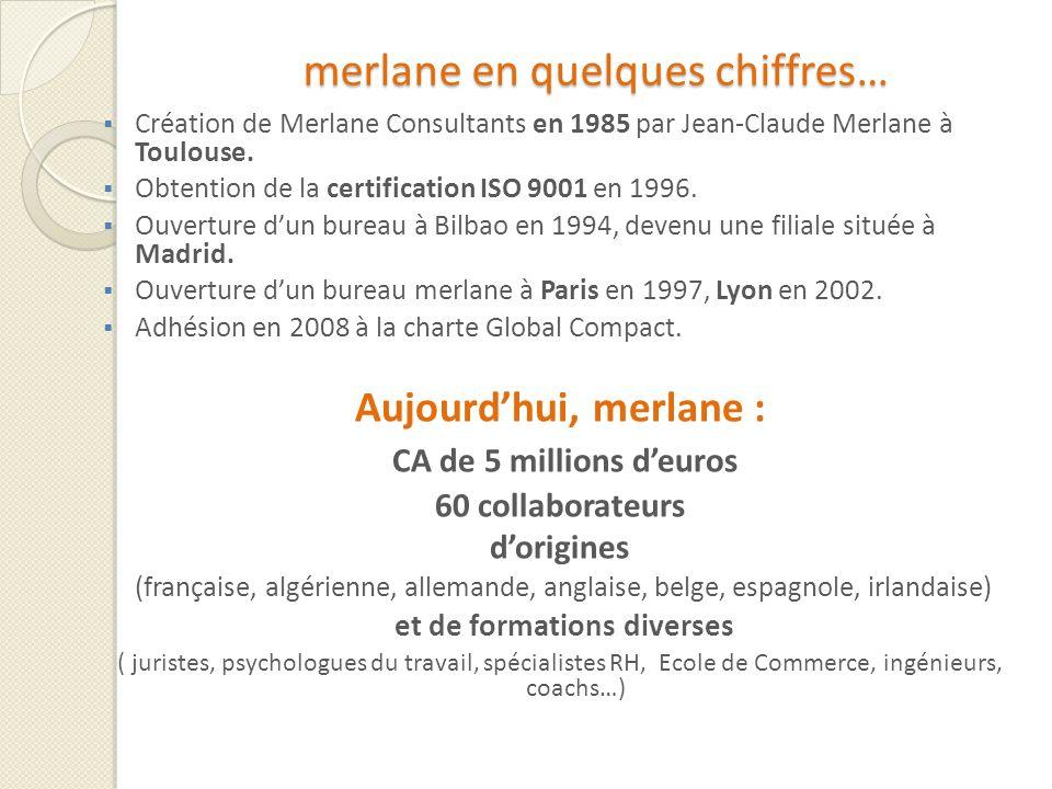merlane en quelques chiffres… Création de Merlane Consultants en 1985 par Jean-Claude Merlane à Toulouse. Obtention de la certification ISO 9001 en 19