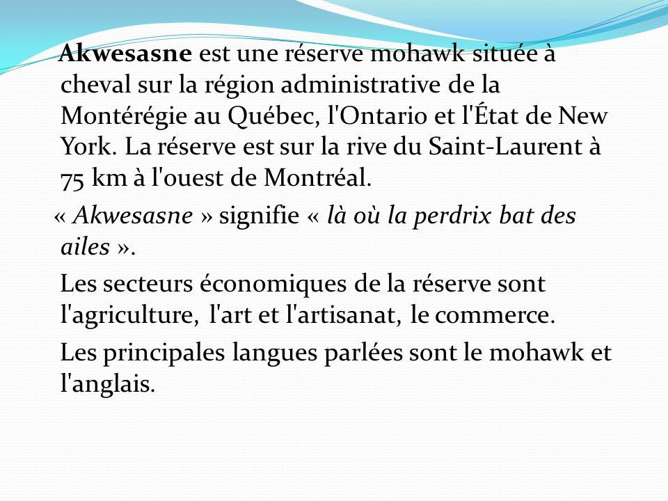 Akwesasne est une réserve mohawk située à cheval sur la région administrative de la Montérégie au Québec, l'Ontario et l'État de New York. La réserve