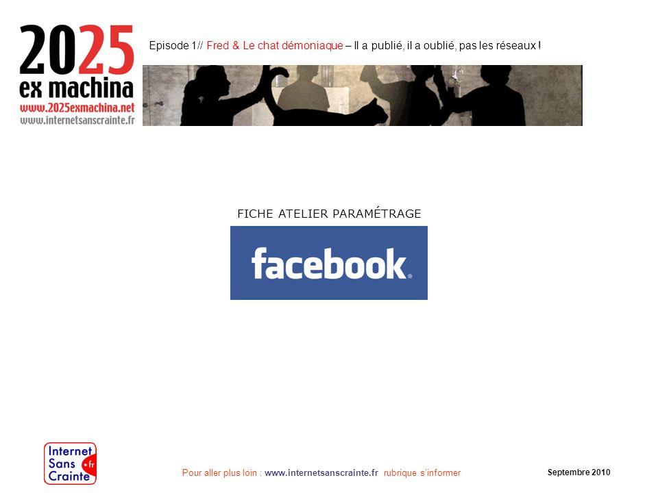 Pour aller plus loin : www.internetsanscrainte.fr rubrique sinformer Septembre 2010 Facebook, quest-ce que cest .